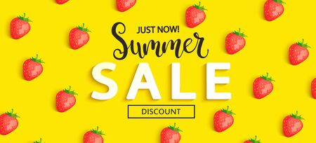 Summer Sale strawberry banner on yellow background, hot end or mid season 50 percent discount poster.Invitation for shopping, special offer card, template design for promotions. Vector illustration. Ilustração