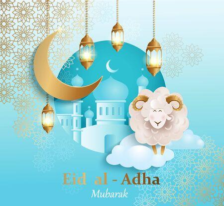 Id al-Adha Banner. Karta na tradycyjne muzułmańskie wakacje Kurban Bayram z owcami, księżycem, złotym ornamentem, lampą i meczetem na szczęśliwe świętowanie ofiary. Plakat pozdrowienie islamskie. Projekt szablonu. Ilustracje wektorowe