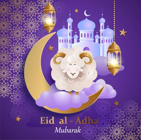 Eid al-Adha Banner. Card for traditional muslim holiday Kurban Bayram with sheep, moon, golden ornament, lamp and mosque for happy sacrifice celebration. Islamic greeting poster. Night Design. Illustration