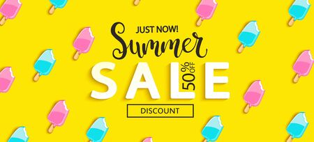 Summer Sale bitten ice cream banner on yellow background, hot end or mid season 50 percent discount poster.Invitation for shopping, special offer card, template design for promotions. Vector. Ilustração