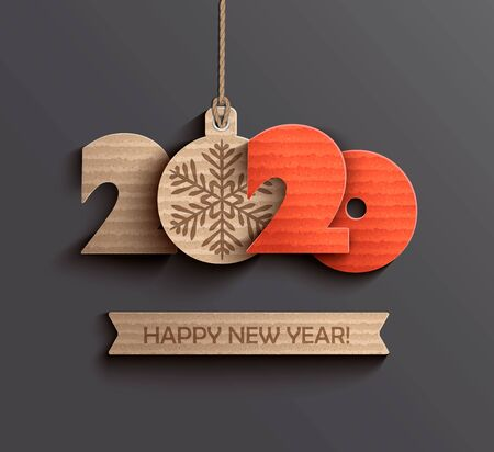 Nowoczesna karta kreatywna na projekt papieru szczęśliwego nowego roku 2020. Idealne do prezentacji, ulotek i banerów, ulotek, pocztówek i plakatów. Ilustracja wektorowa Eps10.