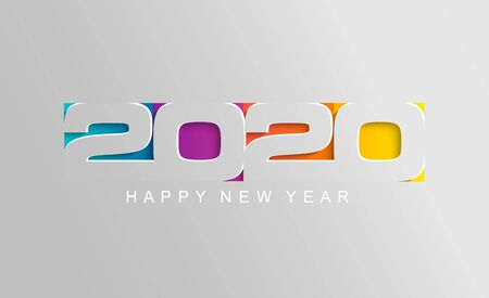 Happy 2020 new year card in paper style for your seasonal holidays flyers, greetings and invitations cards and christmas themed congratulations and banners. Vector illustration.