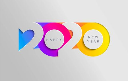 Felice anno nuovo 2020 banner a colori insta in stile carta per i volantini delle vacanze stagionali, auguri e inviti, congratulazioni e cartoline a tema natalizio. Illustrazione vettoriale. Vettoriali