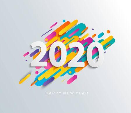 Carta di felice anno nuovo 2020 su sfondo dinamico moderno. Perfetto per presentazioni, volantini e striscioni, volantini, cartoline e poster. Illustrazione vettoriale.