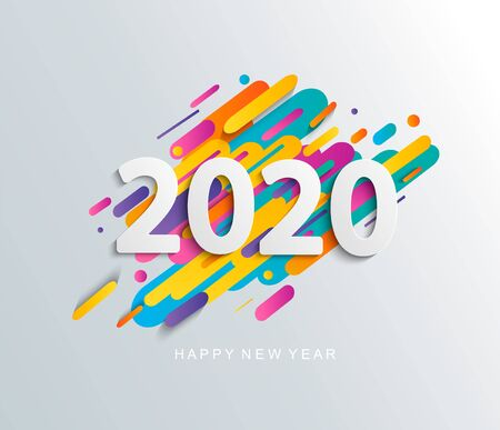 Happy new year 2020 card on modern dynamic background. Perfect for presentations, flyers and banners, leaflets, postcards and posters. Vector illustration.
