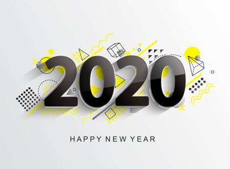 Modern creative new 2020 year design card with geometric shapes on background for your seasonal holidays flyers, greetings and invitations cards and christmas themed congratulations and banners.Vector