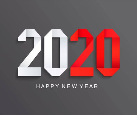 New 2020 year paper greeting card on dark background made in origami style with red number 20. Perfect for presentations, flyers and banners, leaflets, postcards and posters. Vector illustration. Illusztráció