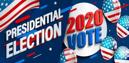 Striscione per le elezioni presidenziali USA 2020. Manifesto per il voto americano. Modello per il design politico. Ottimo per volantini, biglietti, cartelloni. Sfondi dinamici con bandiera e ballons.Vector illustrazione.