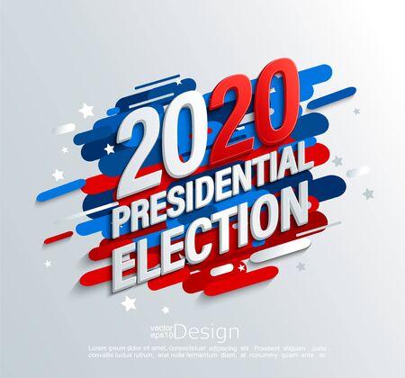 Striscione per le elezioni presidenziali USA 2020 su sfondo dinamico moderno. Poster per il voto americano. Modello per il design politico. Ottimo per volantini, biglietti, cartelloni, presentazioni, volantini, cartoline. Vettore