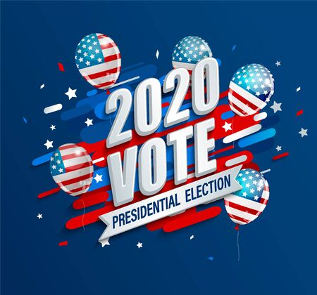 2020 USA presidential election dynamic banner. Poster for American vote. Template for politic design. Great for flyers, cards, plackards. Backgrounds with ballons with stars and stripes.Vector.