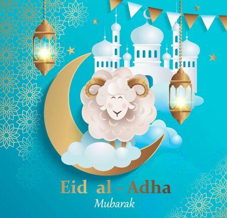 Eid al-Adha Banner.Poster na tradycyjne muzułmańskie wakacje z owcami, złotym ornamentem, lampą i meczetem na szczęśliwe świętowanie ofiary. Islamska kartka z życzeniami, ulotka eid, plakat do mediów społecznościowych.