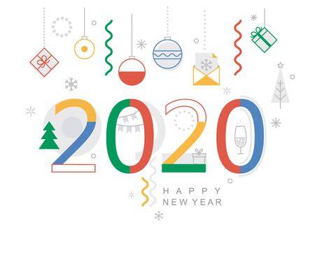 Bannière minimale du nouvel an 2020. Carte de design moderne, affiche avec des formes géométriques, des boules de Noël et des cadeaux, souhaitant de joyeuses fêtes. Idéal pour le web, les invitations à des fêtes, les flyers, les salutations, les félicitations. Vecteurs