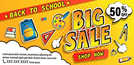 Back to school big sale promotion banner, shop now offer with halftone. Half price discount card with school equipment, backpack, books. Template for promo, flyers, posters. Vector illustration.