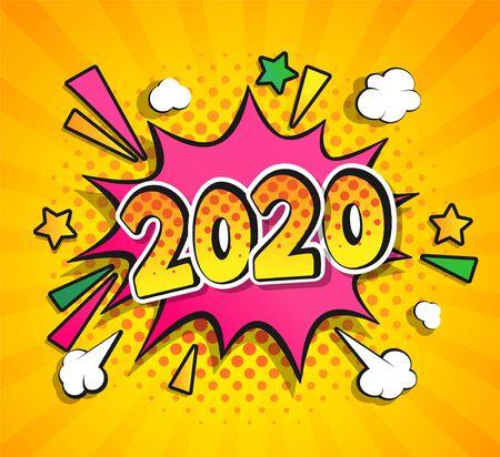 2020 Año Nuevo Comic Boom discurso buble en estilo retro pop art sobre fondo de semitono sunburst. Ilustración de vector de banner, tarjetas de felicitación, folletos, invitaciones, carteles, folletos, calendarios.