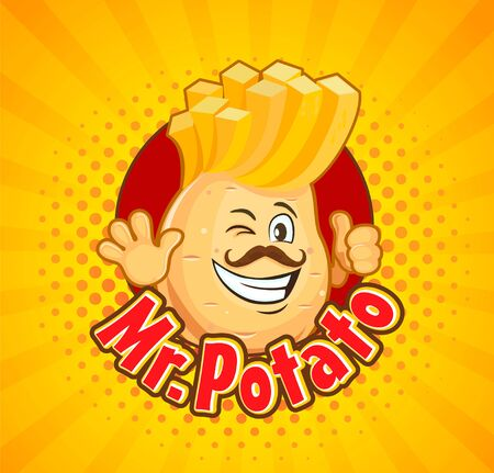 Mr. potato inviting to delicious french fries. Smiled character with hipster hairstyle and thumb up on sunburst halftone background. Vector illustration.
