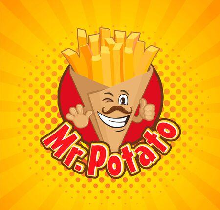 Glimlachte doos vol met frietjes. Heerlijke snack in ambachtelijke papieren verpakkingstas. Karakter met duim omhoog op sunburst halftone achtergrond. Vector illustratie.