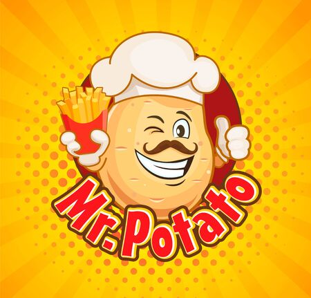 Mr. potato chef with french fries inviting to delicious snack. Smiled character with hipster hairstyle, thumb up and fast food on sunburst halftone background. Vector illustration.