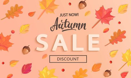 Autumn Sale banner with fall leaves, end or mid season 50 percent discount poster.Invitation for shopping, special offer card, template design for promotions. Vector illustration.