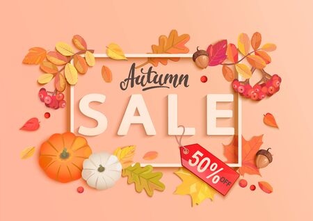 Autumn sale banner with frame and fall elements,colorful autumn leaves, rowan berries, acorns, pumpkin for seasonal shopping promotion,web. Template for discount cards, advertise. Vector illustration.