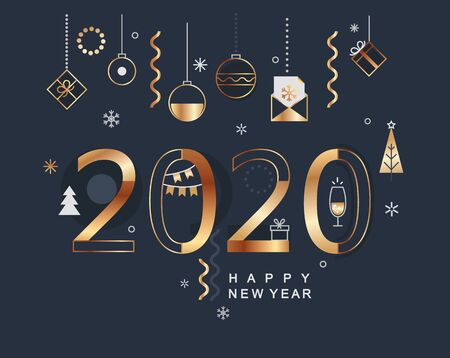 2020 new year banner with gold holiday elements on dark background. Modern design card, poster with christmas balls,fur-tree and gifts, wishing happy party.Great for web,invitations, flyers,greetings. Ilustrace
