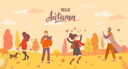People in the autumn park in different situations - playing with the dog, jumping with fall leaves, man with phone and hipster with coffee. Men and women in season forest. Vector illustration.