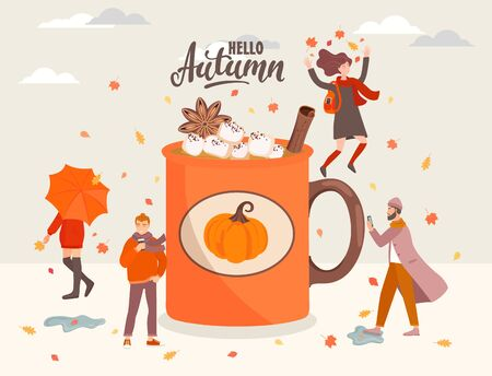 People near the big coffee mug with marshmallow and cinnamon.Girl with umbrella,woman jumping with fall leaves, man with phone and hipster with coffee.Men and women in fall season.Vector illustration.