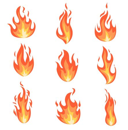 Set of fire flames. Collection of yellow, red and orange hot flaming element. Group of isolated cartoon style templates for game design, web, advertise, animation. Vector illustration.