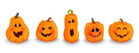 Conjunto de personajes de calabazas de halloween, caras divertidas con sonrisa. Símbolo de felices fiestas. Talla de vegetales para decoración. Diseño para la fiesta de octubre de otoño. Ilustración vectorial.