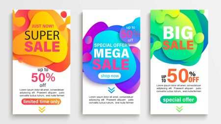 Set of liquid abstract sale banners. Discounts and promotions posters and flyers. Fluid gradient dynamic elements for advertise, mobile flash messages, social post, presentations. Vector illustration.