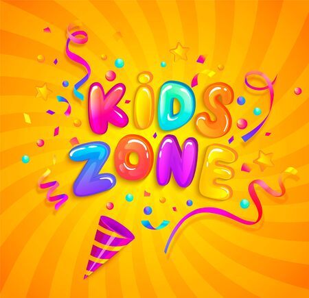 Kids zone banner with party cracker,confetti,serpentine sparkles on sunburst background in cartoon style. Place for fun and play. Poster for childrens playroom decoration. Vector illustration.