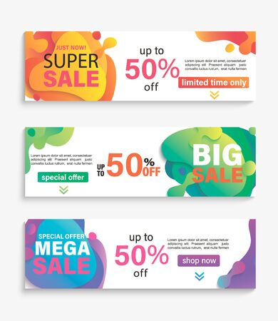 Set of horizontal liquid abstract sale banners. Discounts and promotions posters and flyers.