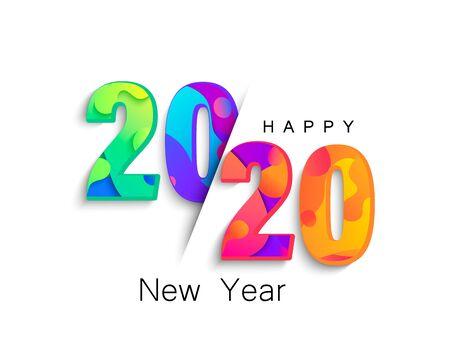 Ilustración de vector de banner de color de año nuevo 2020.
