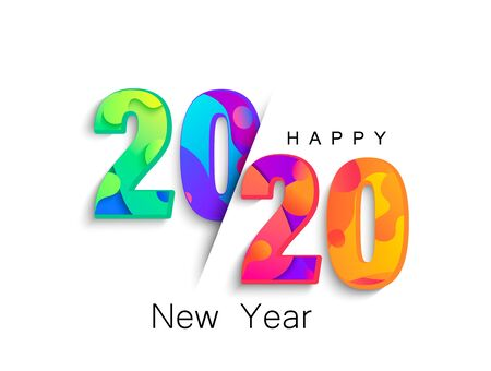 2020 New Year colour banner for your seasonal holidays flyers, greetings and invitations, christmas themed congratulations and cards.Template for brochures, business diaries.Vector illustration.