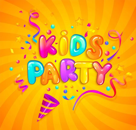 Kids party banner with party cracker,confetti,serpentine sparkles on sunburst background in cartoon style. Place for fun and play. Poster for childrens playroom decoration. Vector illustration. Illustration