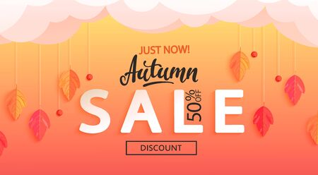Autumn sale banner, just now big discounts. Fall leaves and rowan berries hanging from the clouds, for seasonal shopping promotion, web, flyers. Template for cards, advertise. Vector illustration. Zdjęcie Seryjne - 129894600