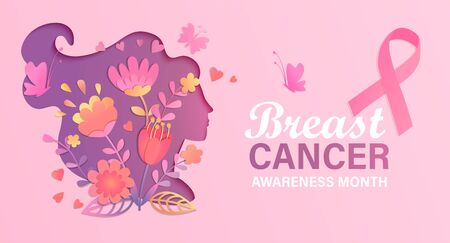 Breast cancer awareness month. World preventive health care initiative.Banner with paper cut woman face and flowers in her head,butterfly,pink ribbon, place for text.Poster, flyer.Vector illustration.