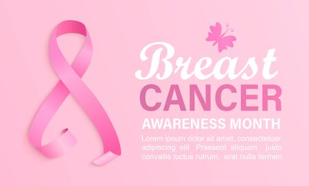 Breast cancer awareness month banner. Poster for world preventive health care iniative.Pink ribbon with butterfly and place for text.Template for design, placard, flyer, advertise.Vector illustration.