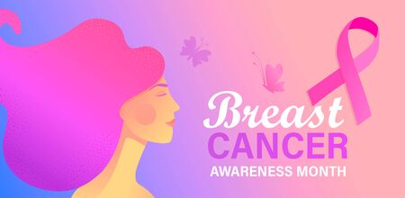Breast cancer awareness month care poster. World preventive healthcare initiative.Banner with woman face,butterflies,pink ribbon, place for text.Placard, flyer, card.Vector illustration. Ilustrace