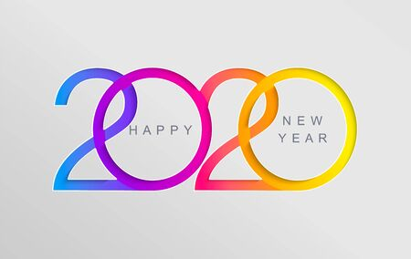 Happy 2020 new year elegant card in paper style for your seasonal holidays banners, flyers, greetings, invitations, business diares, christmas themed congratulations and posters. Vector illustration. Illustration