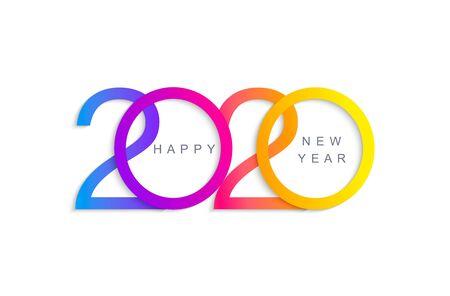 Gelukkig 2020 nieuwjaar elegante wenskaart voor uw seizoensvakantie banners, flyers, uitnodigingen, kerstthema gefeliciteerd, banners, posters, plakkaten. Vector illustratie.