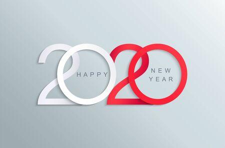 Felice anno nuovo 2020 elegante biglietto di auguri rosso e bianco per le tue vacanze stagionali banner, volantini, inviti, congratulazioni di Natale, striscioni, poster, cartelli, diari di lavoro. Illustrazione vettoriale