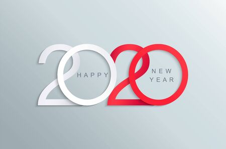 Feliz año nuevo 2020 elegante tarjeta de felicitación en rojo y blanco para sus vacaciones de temporada pancartas, folletos, invitaciones, felicitaciones navideñas, pancartas, carteles, pancartas, diarios comerciales.Ilustración de vector