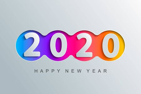 Happy 2020 new year elegant greeting card for your seasonal holidays banners, flyers, invitations, christmas themed congratulations, banners, posters, placards, business diaries. Vector illustration.