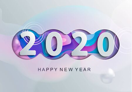 Happy 2020 new year modern greeting card with abstract backround for banners, flyers, invitations, christmas themed congratulations, banners, posters, placards, business diaries. Vector illustration. Фото со стока - 130593562