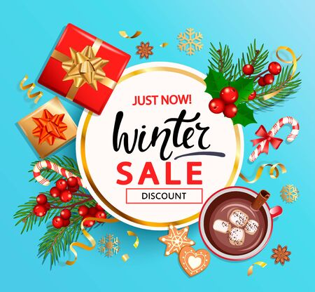 Winter 2020 sale banner,invitation card with hand drawn lettering on blue background with christmas gifts,candies,cocoa with cinnamon and marshmallow,cookie,place for text.Top view.Vector Illustration Ilustrace
