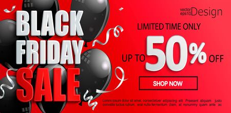 Black Friday Sale banner, inviting to shopping with black ballons. Limited time discounts, 50 percent price off. Clearance poster on red background for your design. Vector illustration.  イラスト・ベクター素材