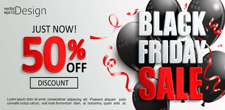Inviting banner for black friday sale, discounts time. Just now shopping offer with 50 percent clearance. Black shine balloons with red confetti on light background. Vector illustration.  イラスト・ベクター素材
