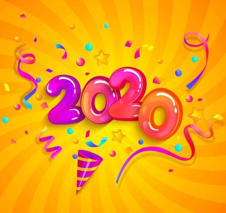 クラッカー紙吹雪、休日のお祝い、挨拶、夜のパーティーのための招待状のための蛇の輝きと新しい2020年のパーティー。サンバーストの背景にテン