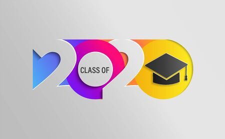 Happy Class of 2020, graduation insta colour banner in paper style for your posters, flyers, greetings and invitations, congratulations and cards at the prom. Vector illustration. 向量圖像
