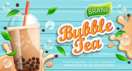 Bubble milk tea banner with delicious tapioca, splashing milk, mint leaves and ice cubes with place for text and brand on wooden background. Great for flyers, posters, cards. Vector illustration.